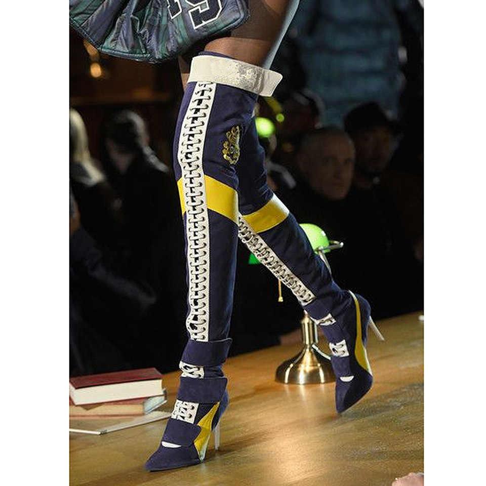 Buonoscarpe Đùi Cao Cấp Giày Nữ Chắp Vá Mũi Nhọn Giày Cao Gót Giày Phối Ren Botas Largas Gợi Cảm Trên Đầu Gối Hiệp Sĩ giày