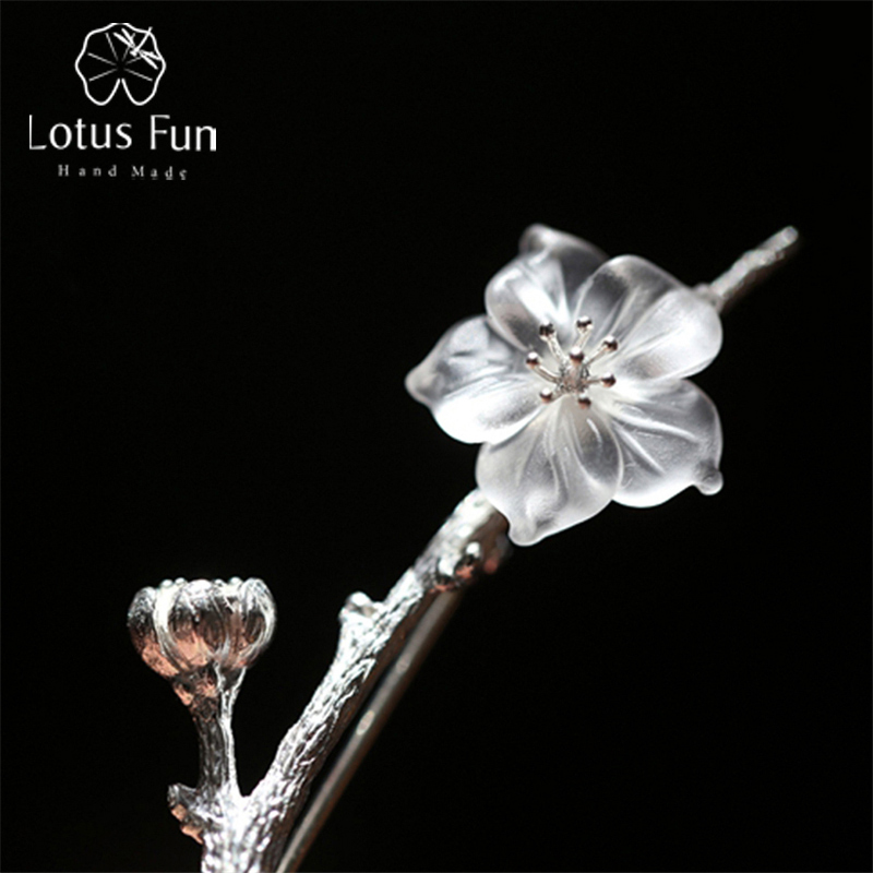 Lotus Fun 925 Sterling Silver Flower Floral Crystal Pins and Brooches for Women Luxury Collar Lapel Pins Broches Wedding Jewelry brooch pins pink flamingo brooches for women love cute gift enamel lapel pin broche broches 2018 fashion jewelry accessories
