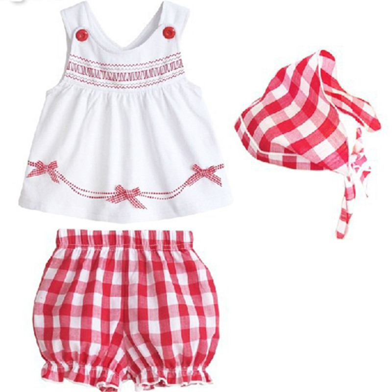 3pcs Set Baby Kids Girl Toddler Tops+Shorts+Scarf Outfit Plaid Clothing 1-3Y ...