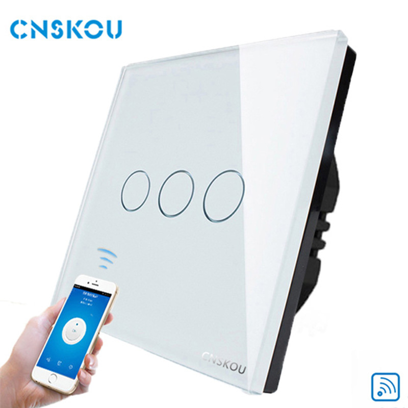 Cnskou Manufacturer Wifi Touch Switch, LED Light Wall Smart Home Remote Control UK Switch,3 Gang 1 Way Luxury Glass Panel smart home us black 1 gang touch switch screen wireless remote control wall light touch switch control with crystal glass panel