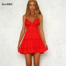 SEXMKL женское сексуальное красное платье с открытой спиной летние Коктейльные Вечерние облегающие короткие пляжные мини-платья женское белое кружевное платье