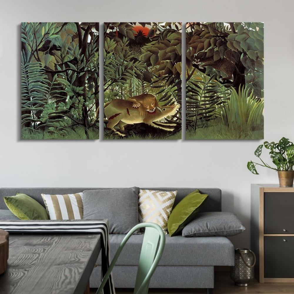 3 panneaux mondialement célèbre peinture Reproduction sur toile mur Art-le Lion affamé se jette sur l'antilope livraison directe
