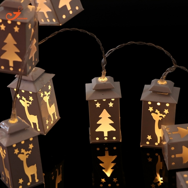 White Lantern light Matel Tree Deer Fairy lights String Holiday ...