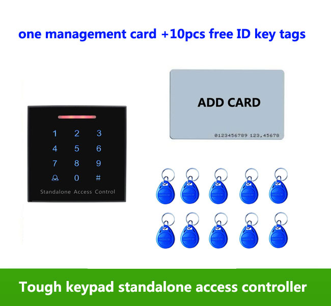 Standalone Access Control Keypad RFID Reader 125KHz ID Door Access Control System,1pcs management card, 10pcs ID tags,min:1pcs proximity rfid 125khz em id card access control keypad standalone access controler 2pcs mother card 10pcs id tags min 5pcs