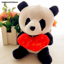 HANDANWEIRAN 1Pcs Embrace Love Heart Panda Stuffed Plush Toys 18CM Kawaii Couple Dolls Toy Valentine Gifts PP Cotton