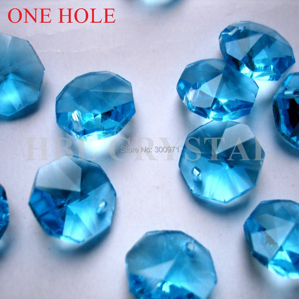 2000pcs/lot 1 hole 14mm Aquamarine color crystal glass octagon beads in one hole wholesale , free shipping
