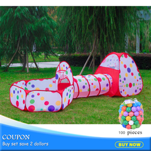цена на 3pcs/set Children Pool-Tube-Teepee Tent Foldable Baby Playing House Toys Storage Tents Kids With 100pc Balls Play Tunnel 985-Q40