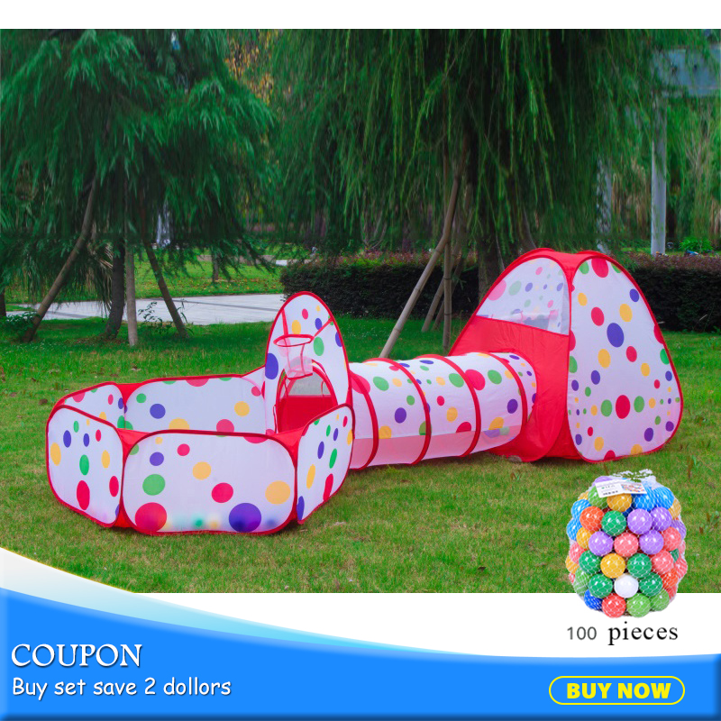 3pcs/set Children Pool-Tube-Teepee Tent Foldable Baby Playing House Toys Storage Tents Kids With 100pc Balls Play Tunnel 985-Q40