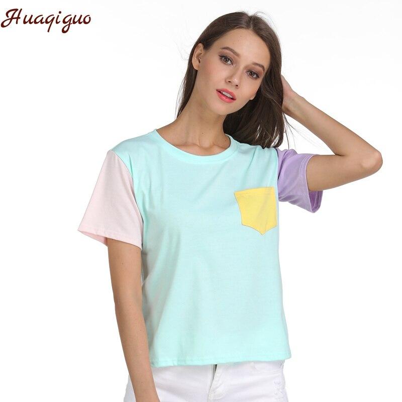 T-shirt do verão Das Mulheres Harajuku Exo Kpop Casual Manga Curta O Pescoço Patchwork camiseta Femme Assentamento Encabeça o Transporte Da Gota