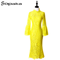 SOPAKA High Quality Yellow Lace Sexy Women Midi Dress 2017 Summer Empire Long Sleeve Bodycon Dress