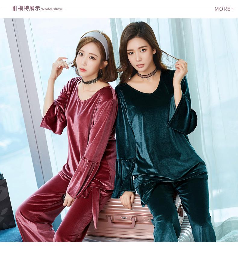 Pajama Sets For Women Winter Velvet Pajamas Lady Night Suit Two Piece Set  Warm Sleepwear Women Pajama 5511a96e4