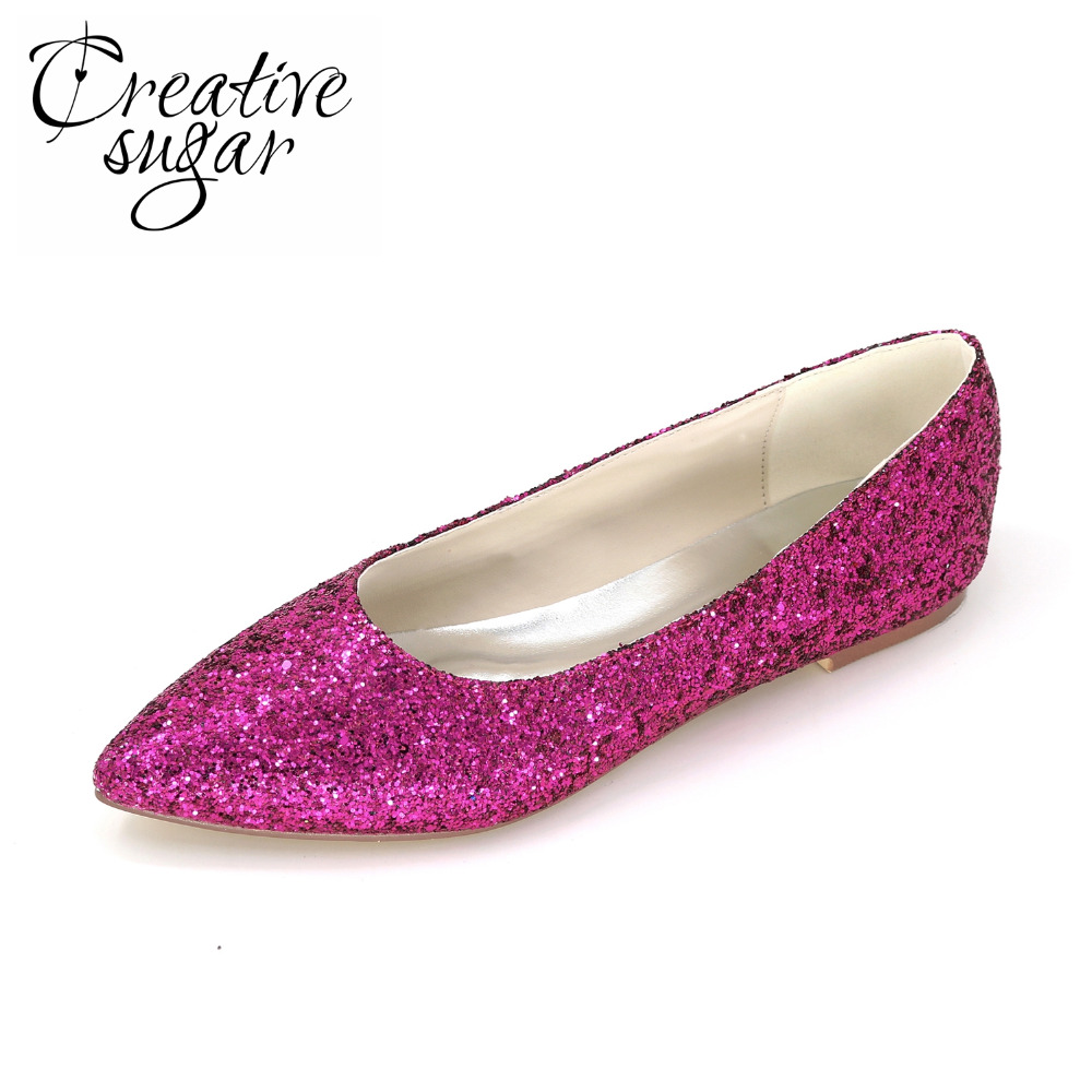 ФОТО Creativesugar 3D glitter woman flats purple royal blue green red party wedding daily pointed slip ons rubber sole lady shoes