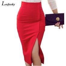 Nuevas faldas para mujer 2018 Otoño Invierno alta cintura Midi longitud  apretada falda Rojo Negro hendidura Bodycon lápiz falda . a417158d1d64