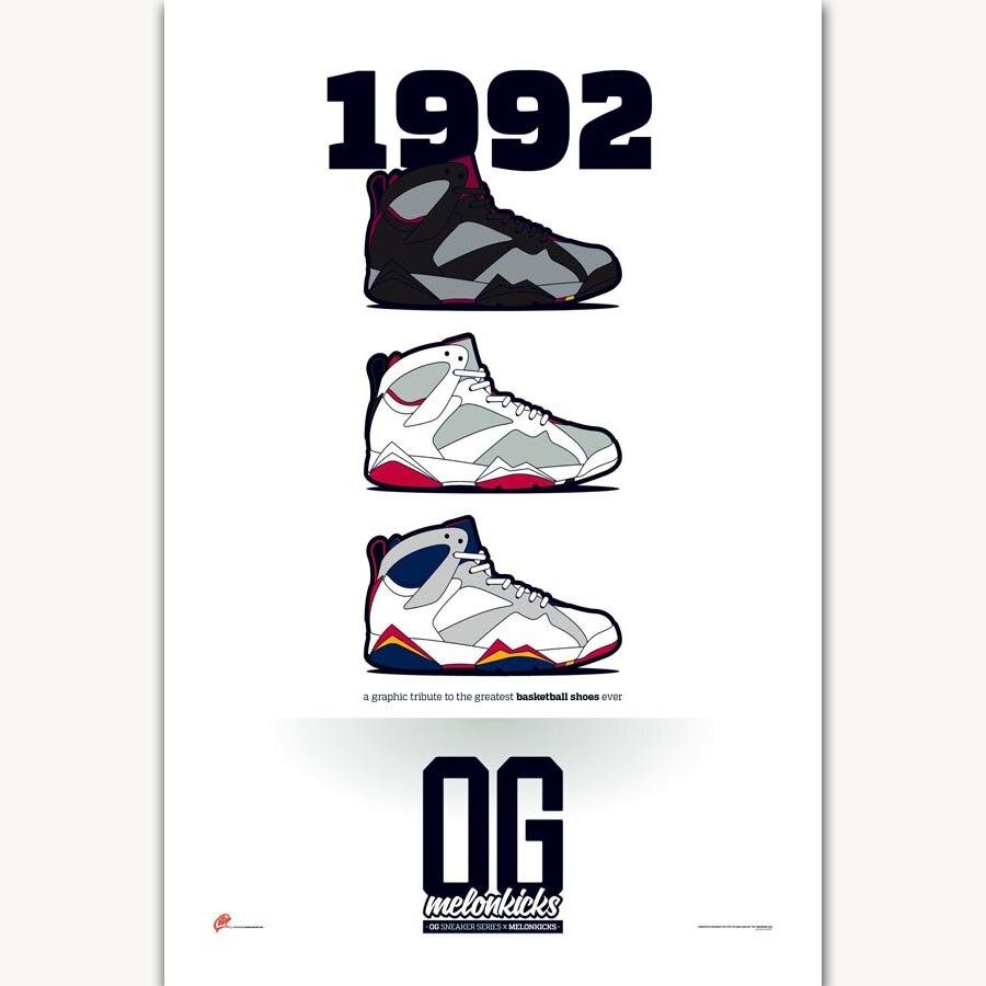 078126f82a742f FX996 Michael Jordan AJ Classic 1992 History Fashion Sneaker Shoes Poster  Art Silk Light Canvas Home Room Wall Printing Decor