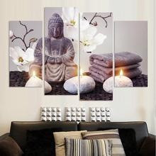 4 teilelos moderne printed buddha malerei bild dekoration buddha gemlde wand leinwand bilder fr wohnzimmer rahmenlose - Buddha Deko Wohnzimmer
