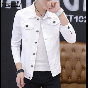 Мужская джинсовая куртка #3402, весна-осень, Повседневная тонкая короткая куртка-бомбер белого/черного/красного цвета, уличная одежда