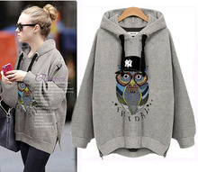 NEW Autumn Women Casual Long Hoodies OWL Printed Sweatshirt Coat Outerwear Hooded Jacket XL-5XL
