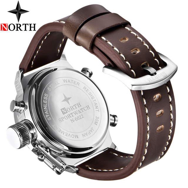 North Mens Watches Top Brand Luxury Quartz Military Watches Men Leather Sports LED Digital Electronic Watch Relogio Masculino 5