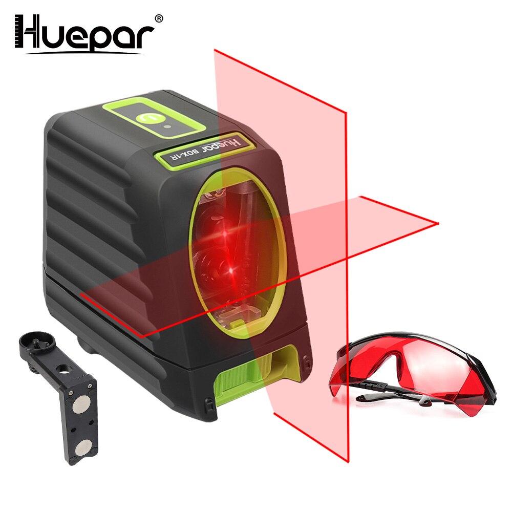 Huepar 2 lignes Rouge Faisceau Croix Ligne Laser Niveau Auto-nivellement Vertical/Horizontal + Réglable Rouge Laser Amélioration lunettes