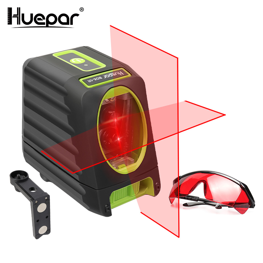 Huepar 2 lines Red Beam Cross Line Laser Level Self-leveling Vertical/Horizontal+Adjustable Red Laser Enhancement Glasses очки rudy project rydon carbon impx 2 laser red