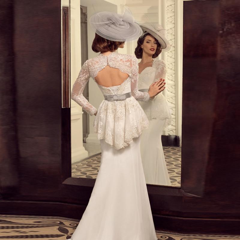 Vintage Peplum Lace Long Sleeves Mermaid Wedding Dresses