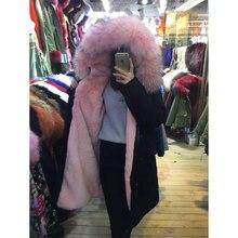 2016 FASHION women winter wear light pink fur long black jacket raccoon fur collar pure mr furs parka coat