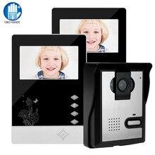สายบ้านประตูวิดีโอIntercom Doorbell 4.3 นิ้วอินฟราเรดNight Vision 25 ริงโทนIP54 กันน้ำประตูEntry System