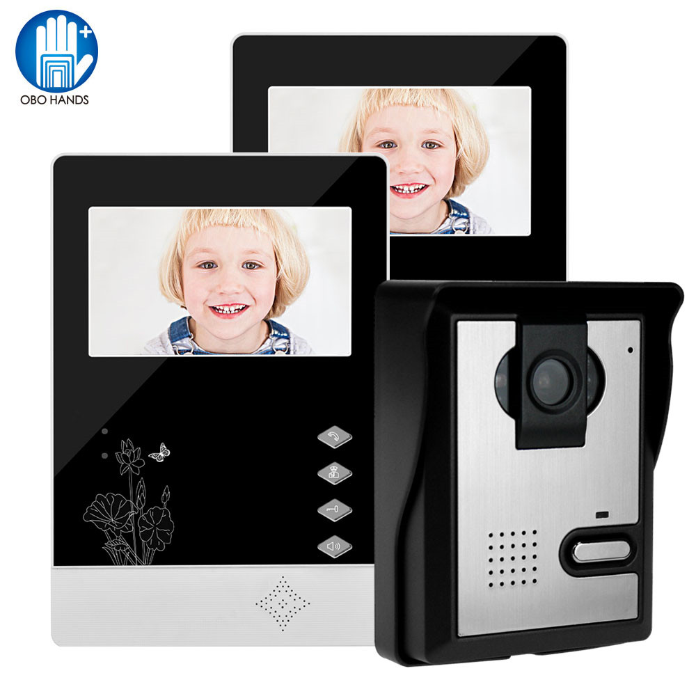 Wired Home Video Door Phone Intercom Doorbell 4.3inch Infrared Night Vision 25 Ringtones IP54 Waterproof For Door Entry System