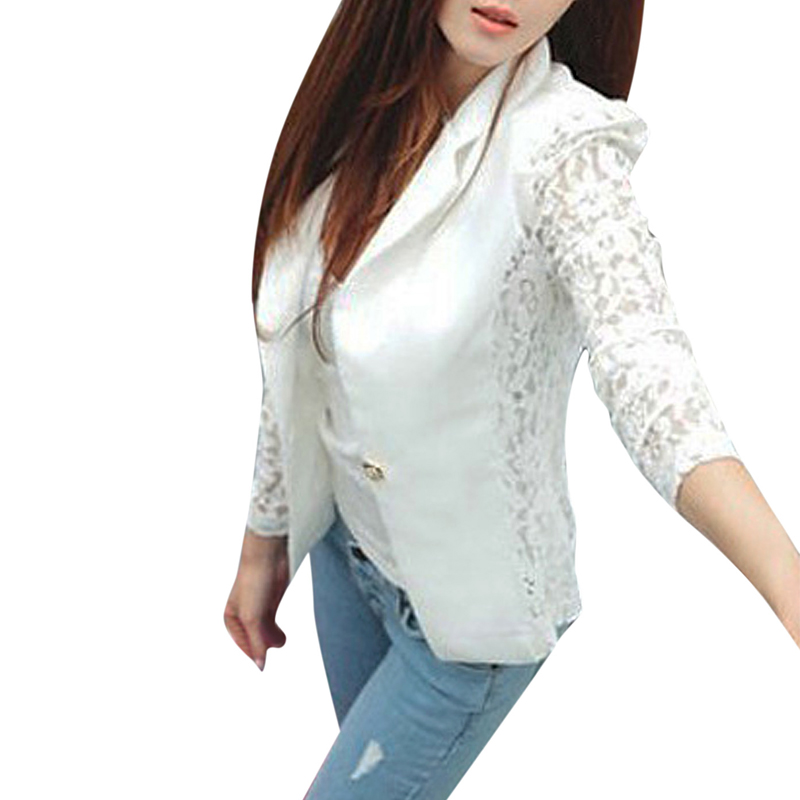 NEW Fashion Sexy Sheer Lace Patchwork Blazer Coat Lady Suit Outwear Women OL Formal Slim Jacket Black White Plus Size S-XL