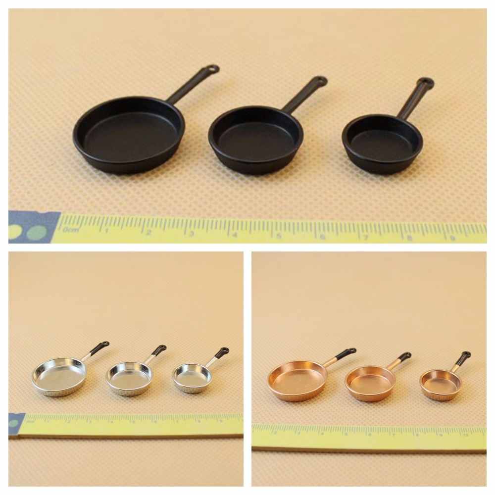 Wholesale 1:12 Dollhouse Miniature Mini Skillet Saucepan Doll Accessories Toy For Forest Animal Family Collectible Gift