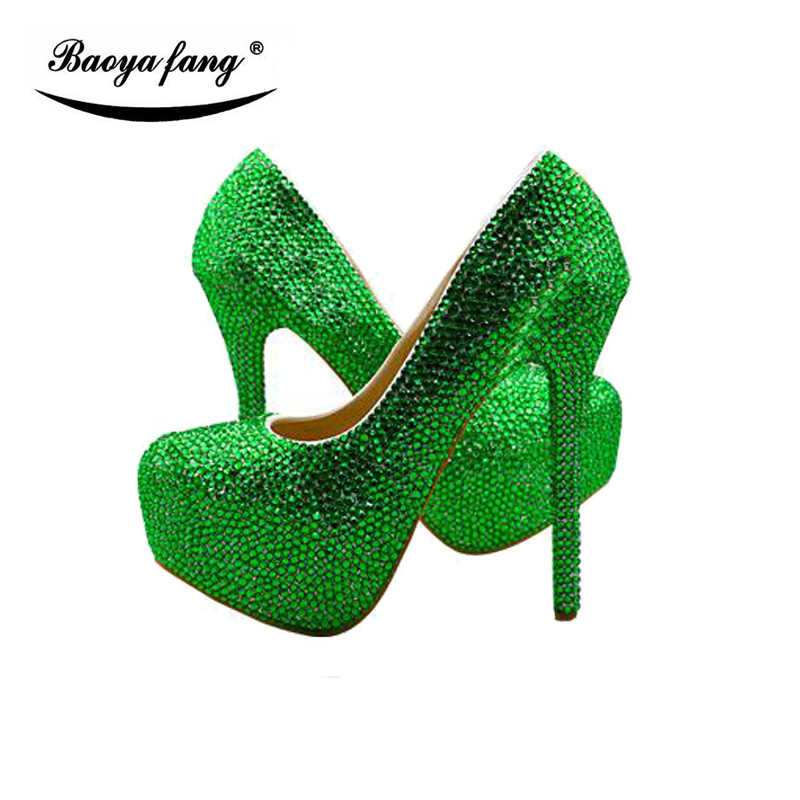Green crystal women Wedding shoes with matching bags Luxury high heels platform shoes women round toe party dress shoes doershow african shoes and bags fashion italian matching shoes and bag set nigerian high heels for wedding dress puw1 19