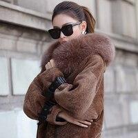 Real Sheepskin Shearling Coat for Women Genuine Leather Bat Sleeve Real Fur Coat with Fox Fur Brim dx0005