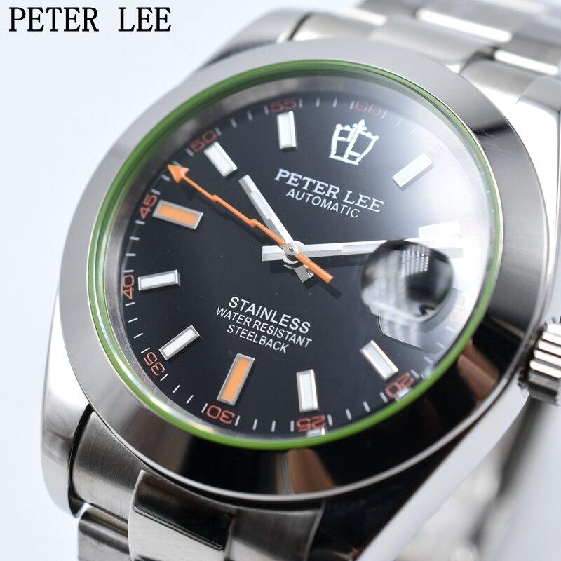 Saatler'ten Mekanik Saatler'de PETER LEE Otomatik Mekanik Erkek Saatler Top Marka Lüks Erkek Saatler Tam Çelik İzle Klasik Moda Erkekler İzle reloj hombre'da  Grup 1