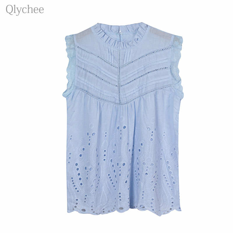 Qlychee Sleeveless Lace Hollow Out Ruffles   Blouse   O Neck Sweet   Blouses     Shirts   Spring Summer Sexy   Blouses   Female