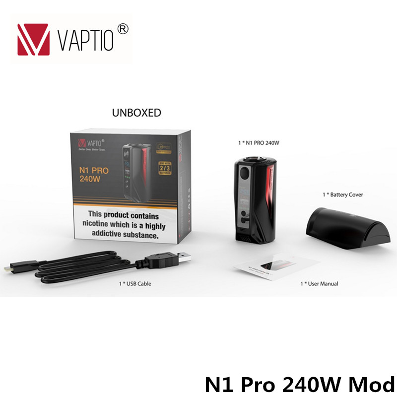 Electronic Cigarette Original Vaptio 240w Box Mod N1 Pro 240W mod Color Display fitted 18650 batteries Short Circuit protection