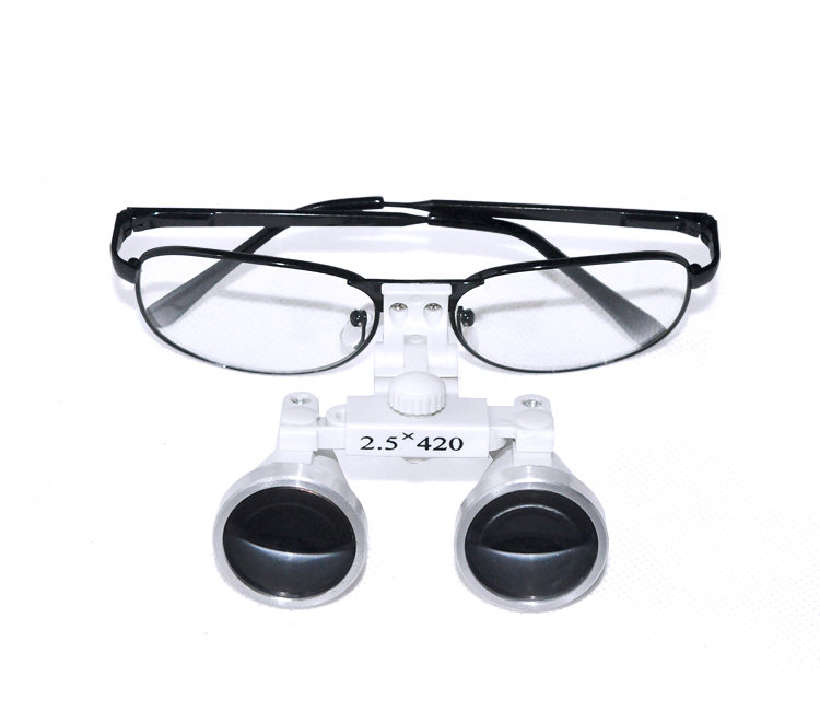 Black Frame Dental Magnifier Dentist Dental Surgical Medical Binocular Loupes 2.5X 420mm Optical Glass Loupe цена