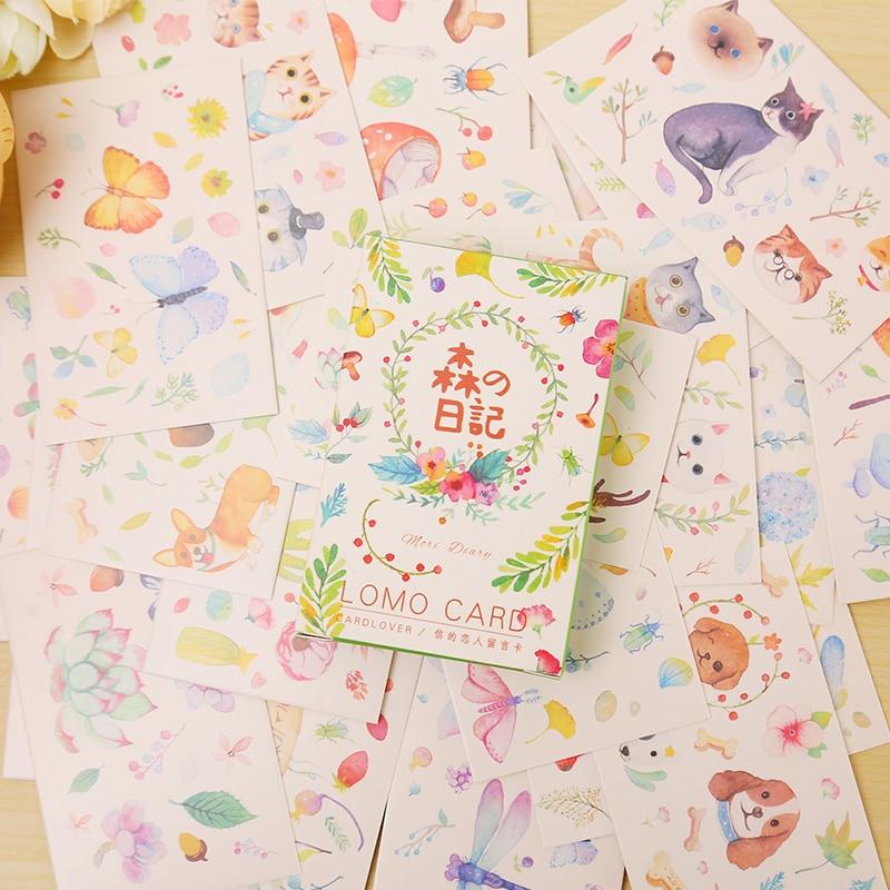 28 pcs/set card lover Amazing Forest mini card greeting card lomo memo card kids gift postcard kawaii stationery