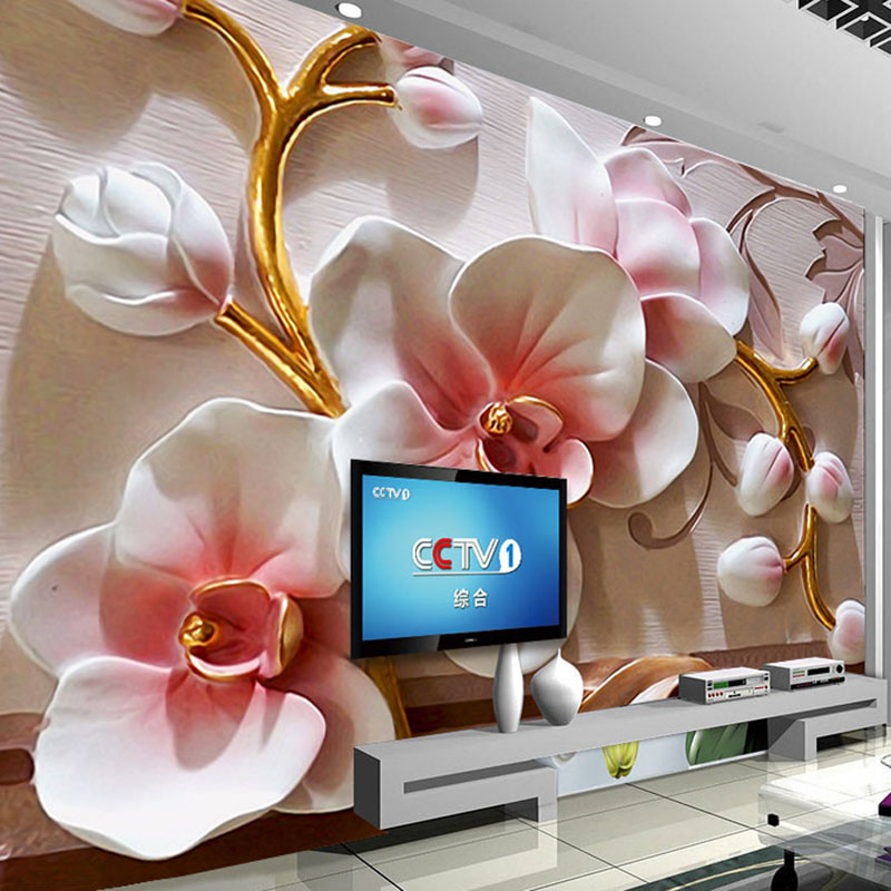 Custom Any Size Mural Wallpaper 3D Embossed Orchid Flowers Photo Wall Papers Living Room TV Sofa Backdrop Wall Home Decor Murals