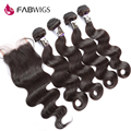 Fabwigs Peruvian Virgin Hair with Closure Unprocessed Human Hair Weave 4 Bundles with Closure Peruvian Body Wave with Closure