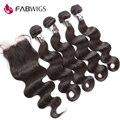 Fabwigs peruano virgem cabelo com encerramento não transformados cabelo humano weave 4 pacotes com fecho de onda do corpo peruano com fecho