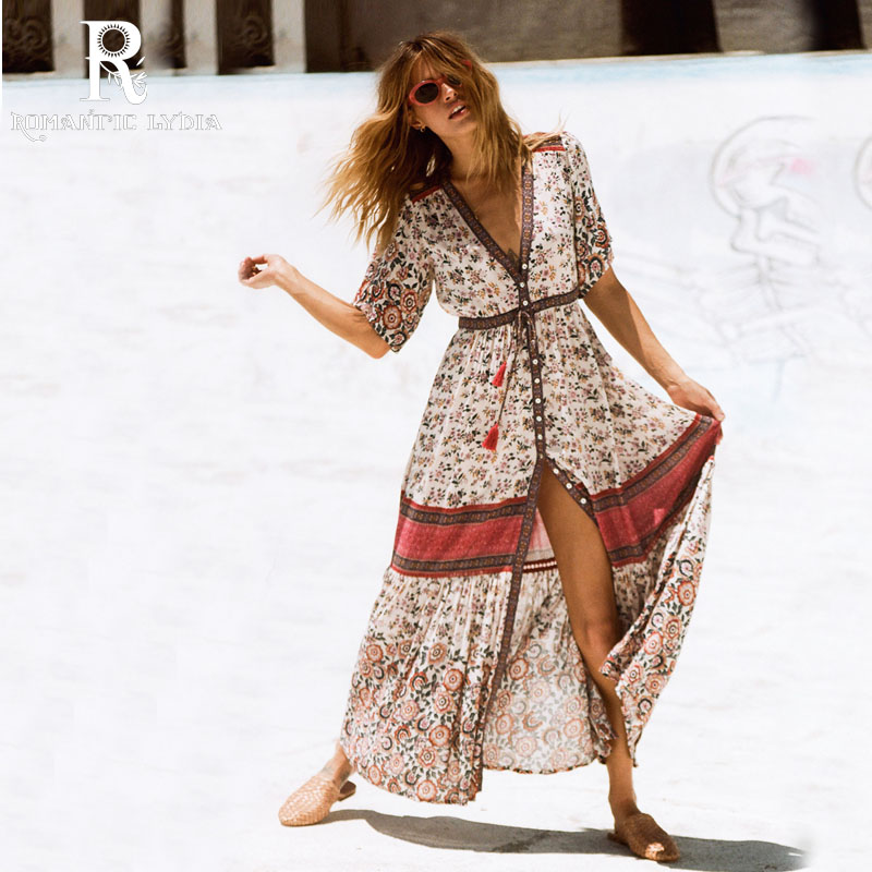 Bohemian Short Sleeve Maxi Dress Women Sexy High Split Long Dress Open Front Floral Print Dress