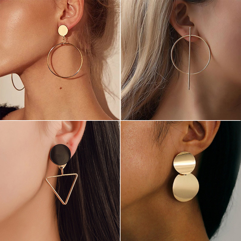 New <font><b>Fashion</b></font> Round Dangle Drop Korean Earrings For Women Geometric Round Heart Gold Earring Wedding Jewelry image