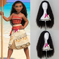 New Movie Moana Girl's Long Curly Brown Hair Halloween Party Cosplay Costume Wig
