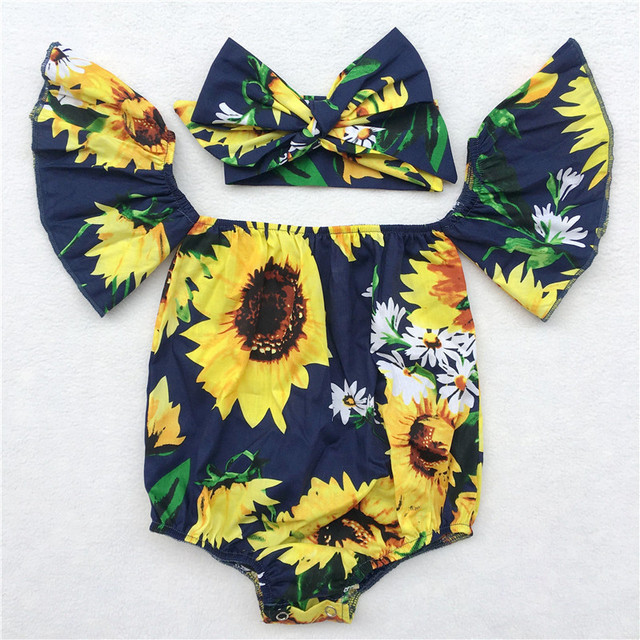 80d96aed442 Lovely Toddler Baby Girl Clothes sunflower Floral Ruffle butterfly sleeves  Rompers girls Jumpsuit cotton Outfits Baby Romper