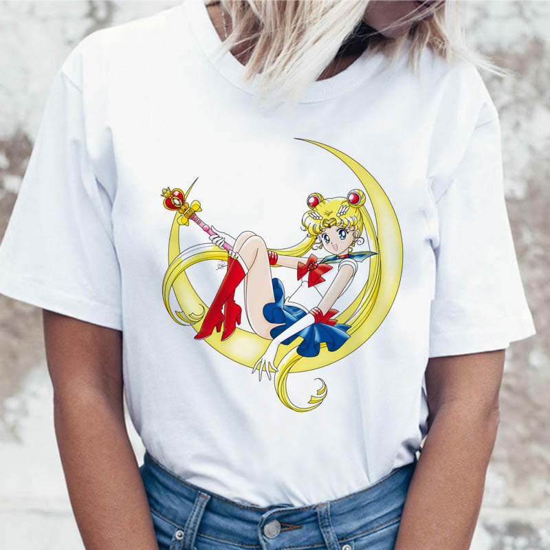 Sailor Moon T Shirt T-shirt Funny For Top Korean Women Ulzzang Tshirt Graphic Harajuku Tees Clothing Female