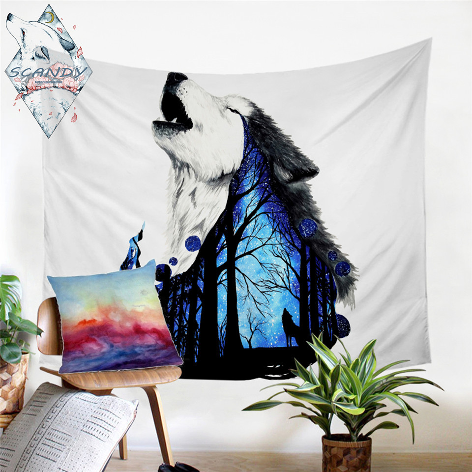 Wolves Forest Tapestry Art Wall Hanging Sofa Table Bed Cover Home Decor