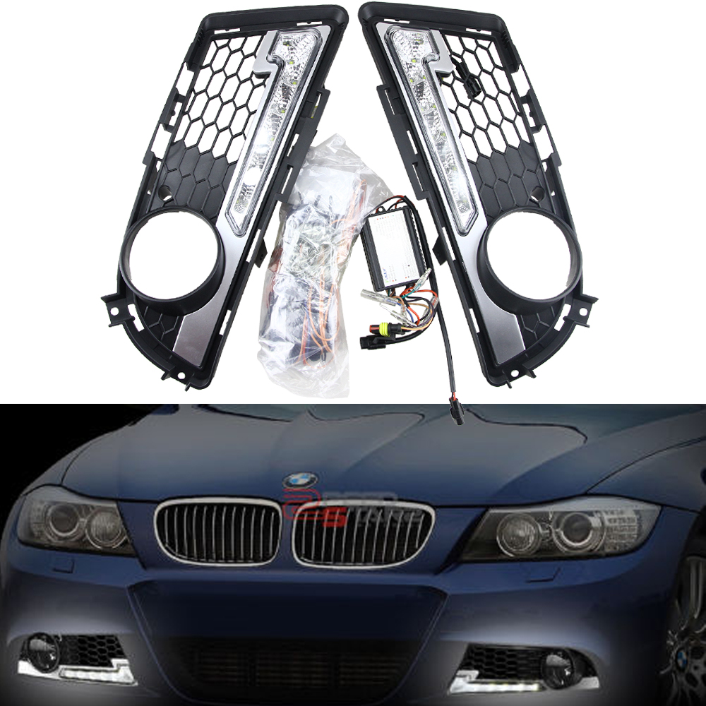 Turn Signal and dimming style Relay 12V Car LED DRL Daytime Running Lights with fog lamp hole for BMW E90 M-tech 09-12