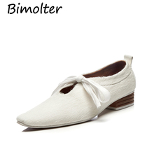 Bimolter Ladies flats shoes horse hair new arrivals 2019 loafers women Squared toe Pure Color Lace-Up Casual Leather Flats NB025