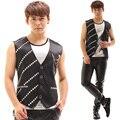 New Men's Fashion Paillette Rivets Vest costumes Nightclub male singer Performance wear party show Formal dress stage wear