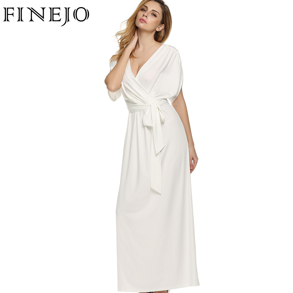783a31ad9bc FINEJO Sexy Women Summer Dress Batwing Dress Deep V Neck Maxi Long Dresses  Party Evening Full Gown Belt Vestidos Femininos XXL-in Dresses from Women s  ...